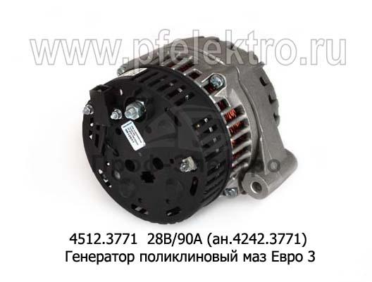 Генератор поликлиновый МАЗ дв.ЯМЗ-236, 238 (Евро-3) (ПРАМО-Электро) 2