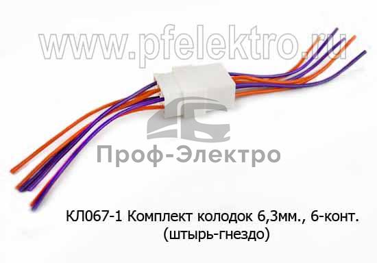 Комплект колодок 6,3мм, 6-конт. с проводами, (штырь-гнездо) все т/с (ДиаЛуч) 1