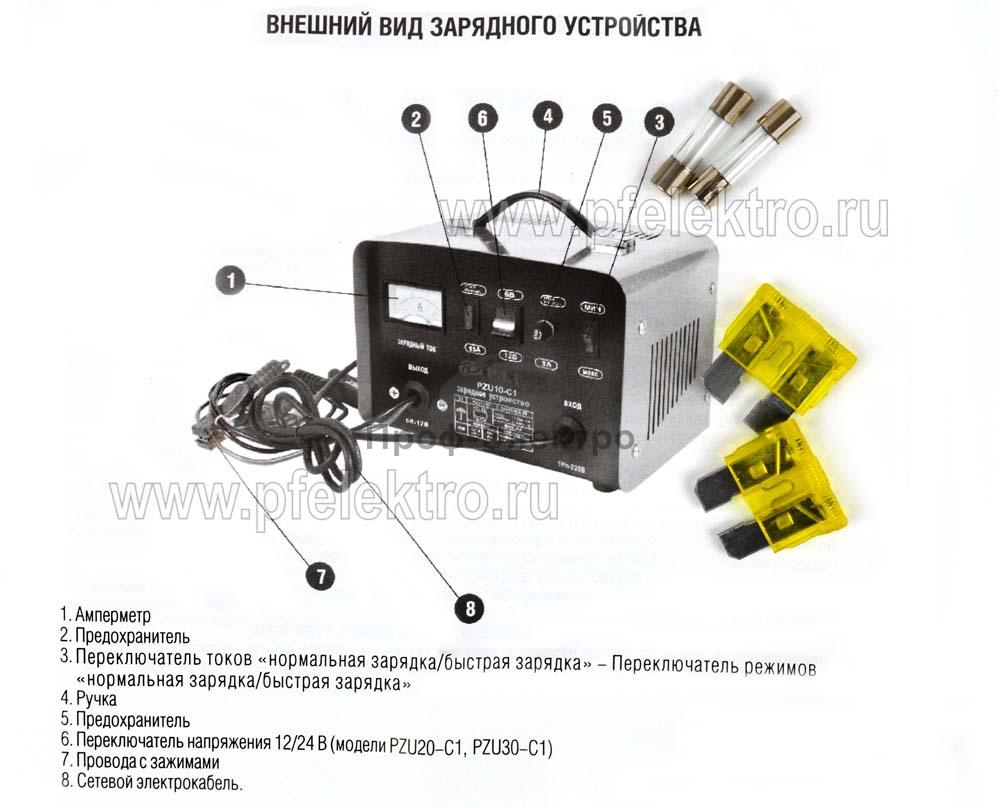Зарядное устройство 450Вт, ёмкость батареи 10-400/75-120 А/ч 2