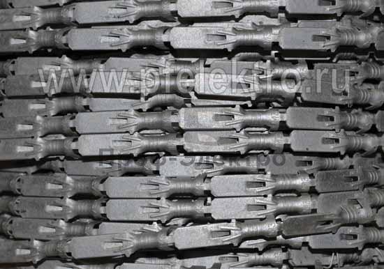 Контакт штыревой (10/3000шт./бухта) 6,3 мм., монтажный усик, олово (сечение провода 4,0-6,0 мм) все т/с (Техком) 2